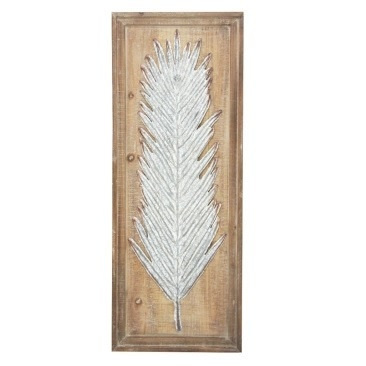 Talal Leaf Metal On Wooden Backing 32.5x87.5cm