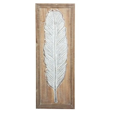 Talal Palm Metal On Wooden Backing - 32.5x87.5cm