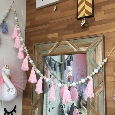 Tassel & Bead Wall Garland - Pink/Grey