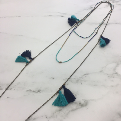 Tassel Chain Infinity Necklace - Blue Mix