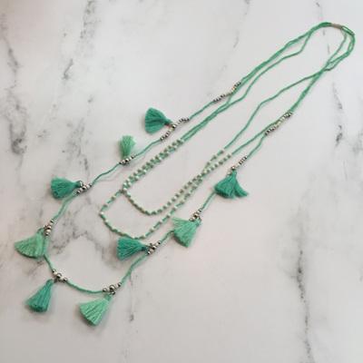 Tassel Galore Necklace - Mint