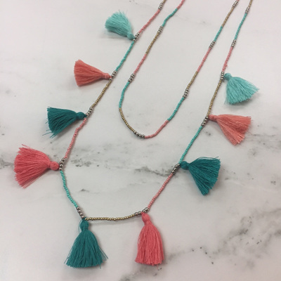 Tassel Galore Necklace - Pink Teal Mix