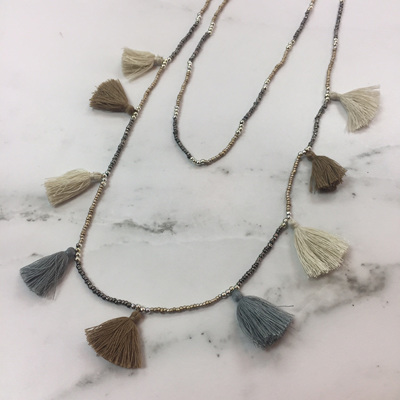 Tassel Galore Necklace - Silver Taupe Mix
