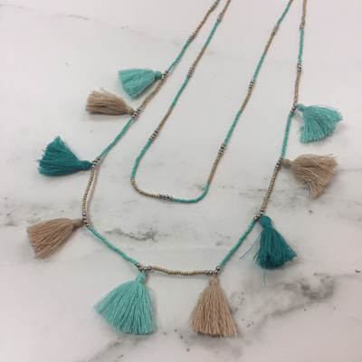 Tassel Galore Necklace - Teal Caramel Mix