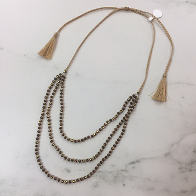Petite Crystal Layered Necklace - Brass