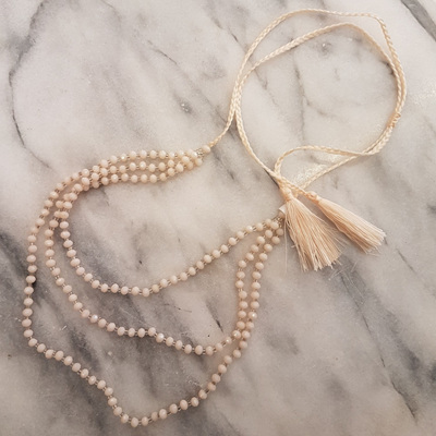 Petite Crystal Layered Necklace - Cream