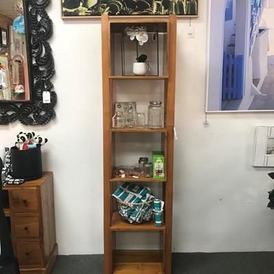 Teak Boxed Tall Shelf