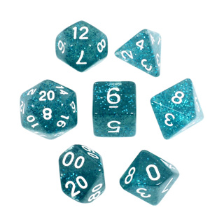 7 Teal with White Glitter Dice