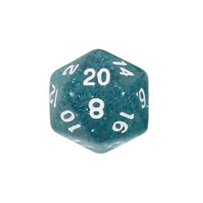 Teal Glitter with White Polyhedral Dice Games and Hobbies New Zealand NZ