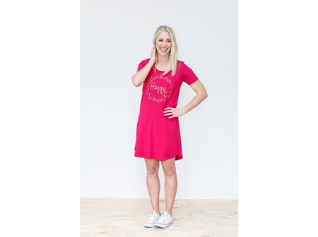 TEE DRESS PINK HAPPY SIZE 12