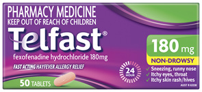 Telfast 180mg 50 Tablets