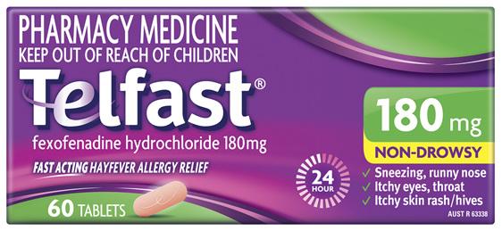 Telfast 180mg 60 Tablets