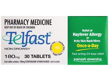 Telfast Fexofenadine Hydrochloride 180mg 30s