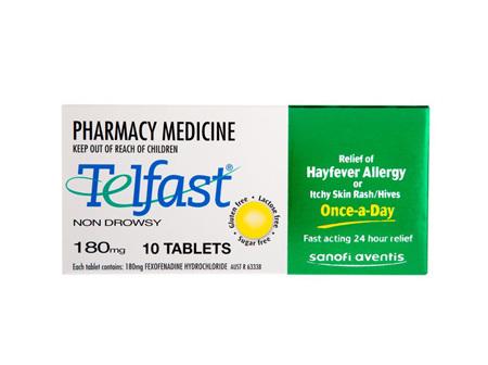 Telfast Fexofenadine Hydrochloride 180mg Tablet 10