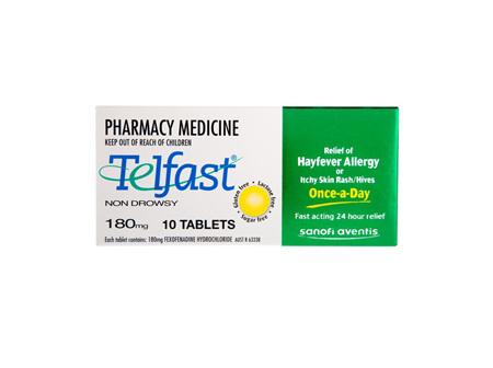Telfast Fexofenadine Hydrochloride 180mg Tablet Blister Pack 10