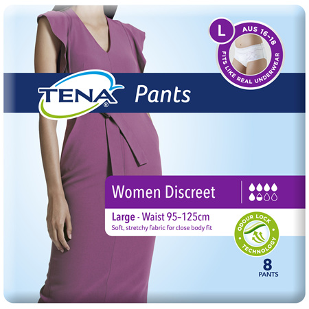Tena Discreet Blanc Low Waist Underwear Large 8 Pack