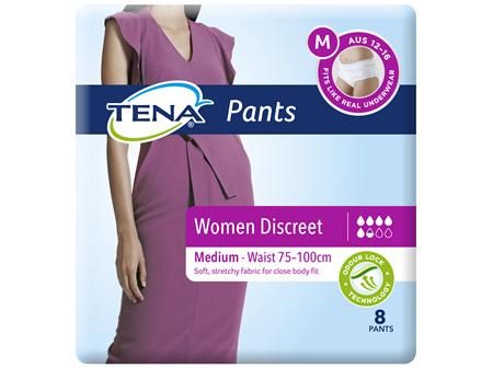 Tena Discreet Blanc Low Waist Underwear Medium 8 Pack
