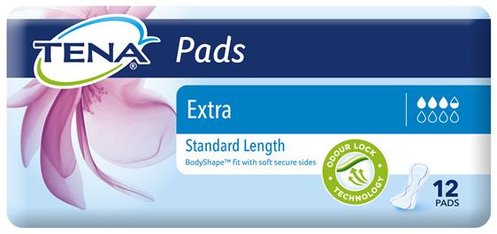 TENA Pads Extra Standard Length 12 pack