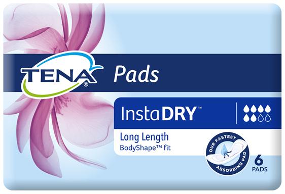 TENA Pads InstaDRY Long Length 6 pack