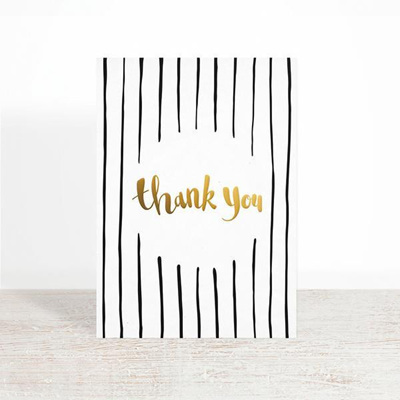 Thank You Greeting Card Gold Foil