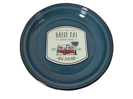The Haere Mai camping ground plate