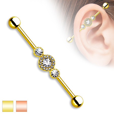 Three CZ Centered Multi Paved Circle Gold Plated Industrial