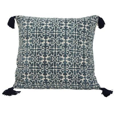 Tie Dyed Cushion W Tassel - Blue & White 45x45cmh