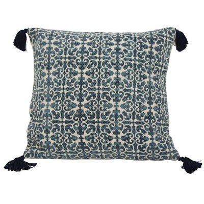 Tie Dyed Cushion W Tassel - Blue & White 45x45cmh