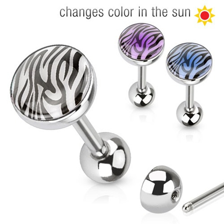 Tiger Print Barbell w/ Solar Activated Dome Top