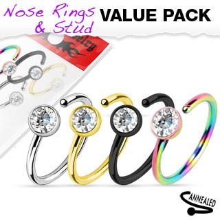 Titanium IP CZ Nose Rings - 4pk