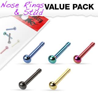 Titanium IP Dome Top Nose Bone - 5pk