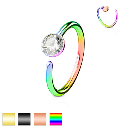 Titanium IP w/ Clear CZ Steel Nose Ring