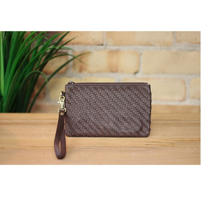 Toronto Weave Wallet - Chocolate Leather