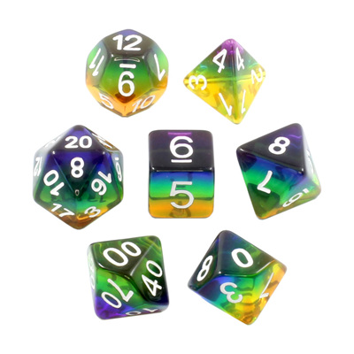 7 Rainbow with White Translucent Dice