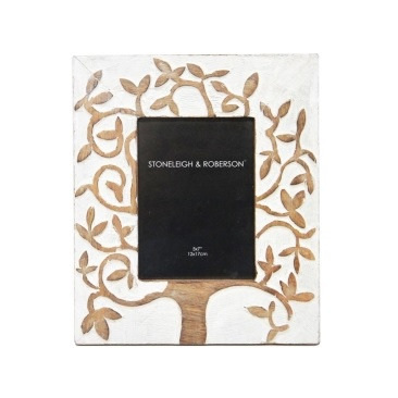 Tree Of Life Wooden Carved Photo Frame - White Distress - 5x7