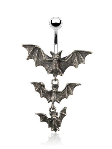 Tri-Vampire Bats Dangle Navel Ring