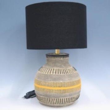 Tribal A Resin Lamp - Black Shade 47.5cmh