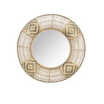 Tribal Bamboo Mirror - Natural & Black 100cm