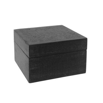 Tribal Carved Wood Box - Matt Black - 16x16cmh