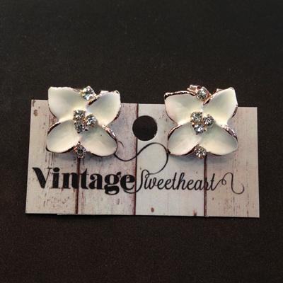 Trillium Flower Earrings - White