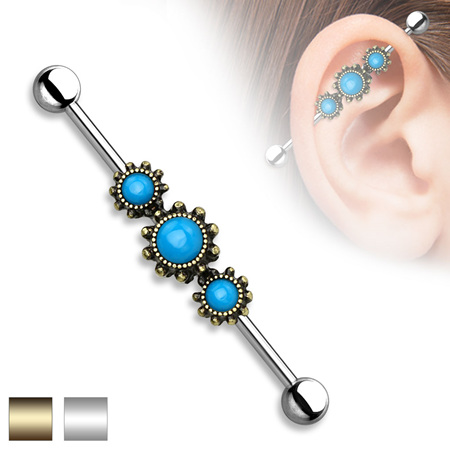 Triple Round Turquoise Industrial Bar