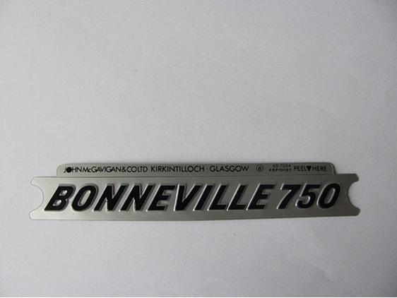 Triumph Bonneville 750 Side Cover Badge Sticker Black & Silver