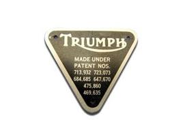 70-4016 Triumph Patent Plate (inc. rivets)