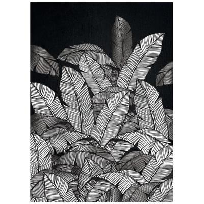 Tropics Leaf Print W Natural Slope Frame 57x77cm
