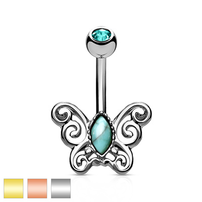 Turquoise Centre Filigree Butterfly Navel Bar