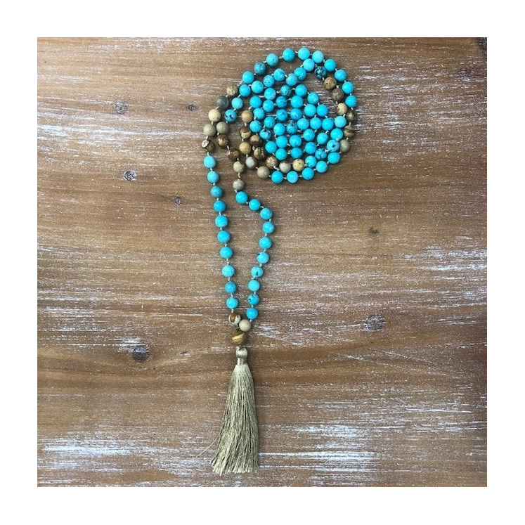 Turquoise & Natural Mala Bead Necklace