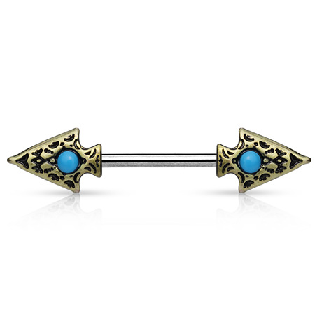 Turquoise set Tribal Spear Nipple Bar