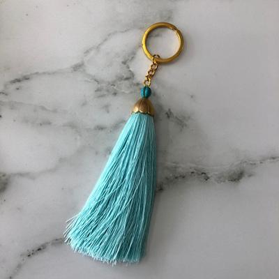 Turquoise Stone Tassel Keyring - Mint