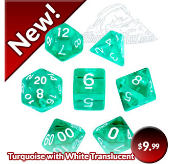 Turquoise with White Translucent Polyhedral Dice