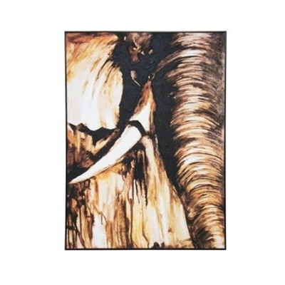 Tusk Canvas Art W Oil Detail - Black Frame 100x140cm